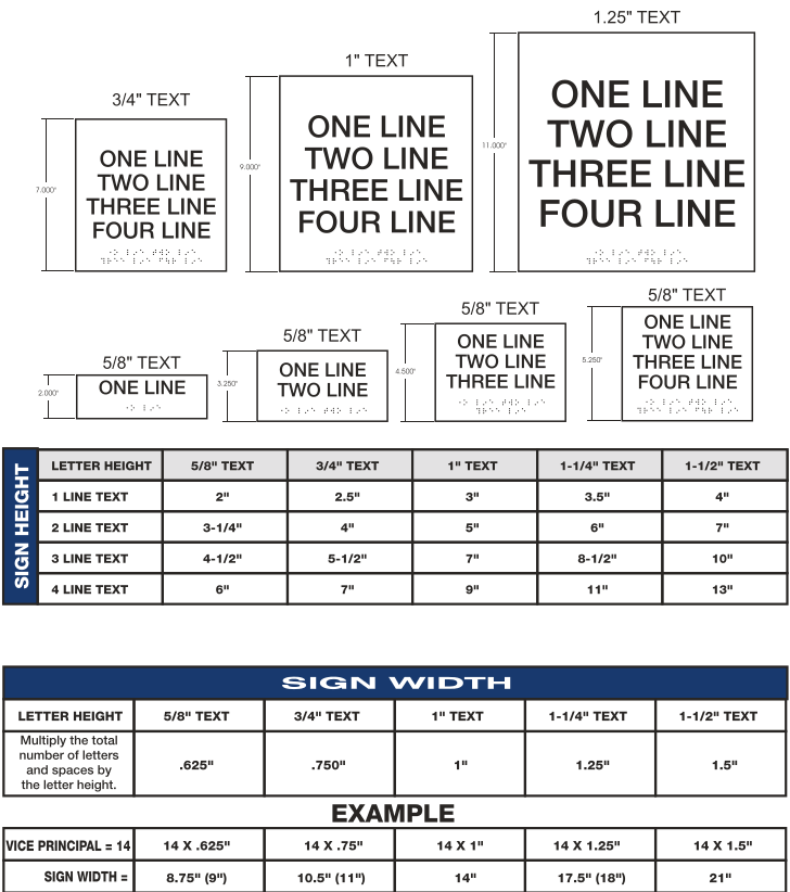 Interior signage chart to be used when ordering interior signage.